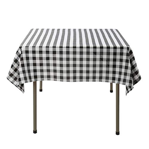Waysle 52x52 Inch Square Polyester Tablecloth Black and White Checker