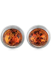 Honey Amber Sterling Silver Round Clip-On Earrings