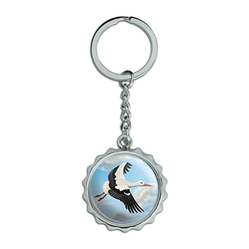 Pops Stork (Flying Stork Chrome Plated Metal Pop Cap Bottle Opener Keychain Key Ring)