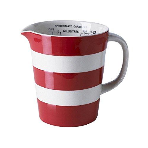 - Cornishware Red and White Stripe Stoneware Measuring Graduated Jug
