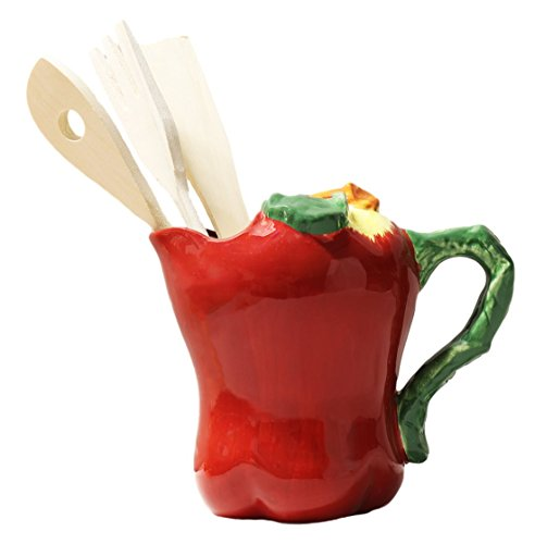 Tuscany 3D Red Apple, Hand Painted Ceramic Kitchen Tool Utensil Holder Set, 87438 by ACK - Apple Utensil Holder
