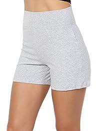 TheMogan S~XL Basic Cotton Spandex High Waisted Bike Shorts Under Short Leggings