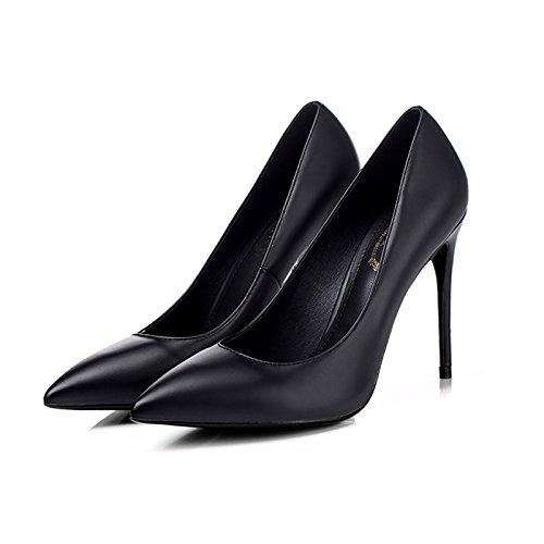 Femmes Talons Hauts Noir Printemps Pompes Chaussures De Court Carrière Chaussures De Mariage Mariage Sandales Fête Soirée Dansante Boîte De Nuit Black(10cm) aSzRi2PsG