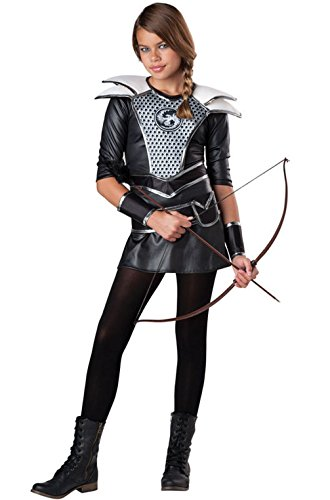 Mememall Fashion Midnight Huntress Catching Fire Tween Child Costume (70s Tv Characters)