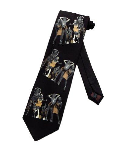 Tie Mania Mens Spice Girls Pop Music Band Necktie - Black - One Size Neck - Wannabe Spice Baby