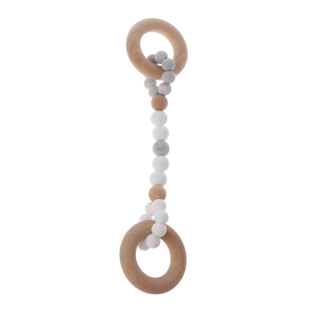 Black Thobu Baby Gym Toy Woody Ring BPA Free Silicone Beech Beads Charms Wooden Teether Toy