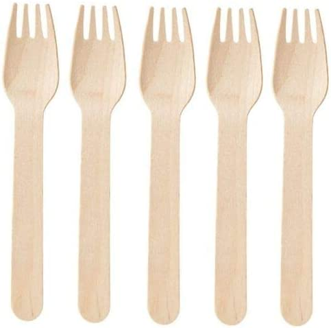 """100% Compostable Wooden Cutlery – 100/Pack 