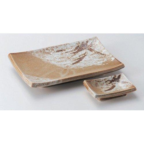 Grilled Fish Plate utw160-3--4-624 [plate 8 x 5.7 x 1.2 inch small plate 3.7 x 2.7 x 1 inch] Japanece ceramic Kara Tsu pampas grass pottery dish + Chiyo Hisashi set tableware by SETOMONOHONPO