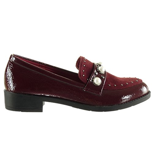 Angkorly - Women's Fashion Shoes Mocassins - bi material - slip-on - studded - pearl - patent Block Heel 3 CM Wine w4DkrY