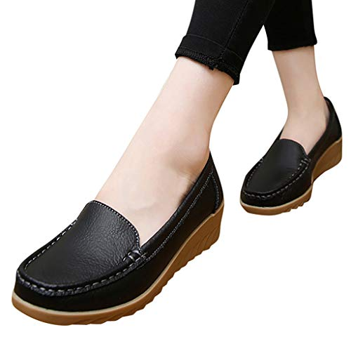 NEARTIMEWomen's Shoes, New Spring/Autumn Leather Wedge Casual Shoes Flat with Slip On Flock Roman Shoes