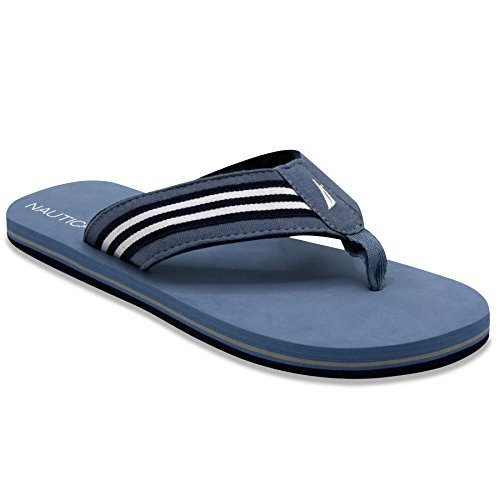 Nautica Men's Footrope Flip Flop, Beach Sandal, Boat Slide 10(M) Tide Blue