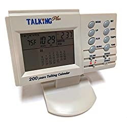Talking Digital Alarm Table Clock with Voice Announcement of Both Time and Temperature at the Push of a Button, Displays Monthly Calendar, Wake to 4 Different Alarms, 15 Melodies or a Rooster Crowing
