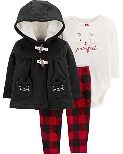 Carter's Baby Girls` 3-Piece Little Jacket Set, Black Purrfect, 12 Months