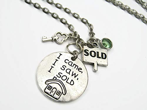 Realtor Necklace, I Came I Saw I Sold Pendant, Personalized Birthstone Jewelry, Real Estate Agent Gift - Estate Lead Crystal
