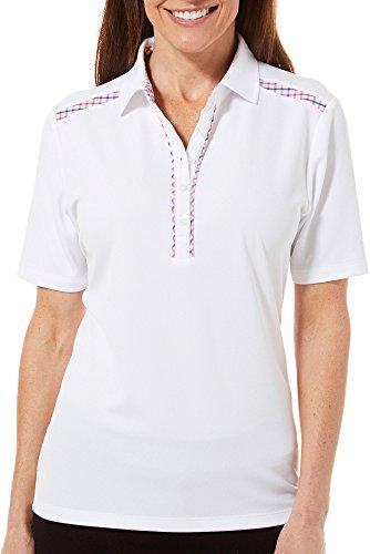 IZOD Golf Womens Plaid Trim Polo Shirt Large Bright White