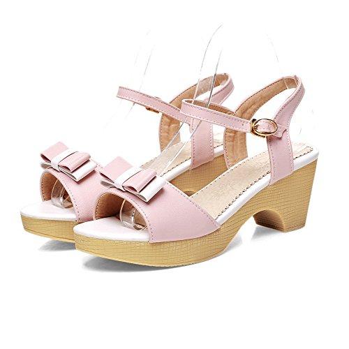 Damen Weiches Material Schnalle Offener Zehe Hoher Absatz Gemischte Farbe Sandalen, Pink, 37 VogueZone009