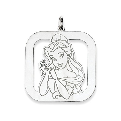 Disney Belle Square Charm - Roy Rose Jewelry Sterling Silver Disney Belle Square Charm Necklace Complete with Chain