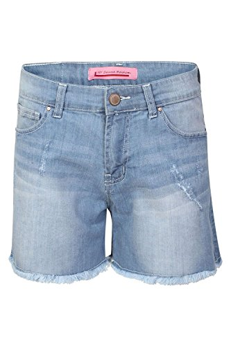 Womens Ladies Belted Ribbed 5 Pockets Faded Button Raw Edges Mini Jeans Short