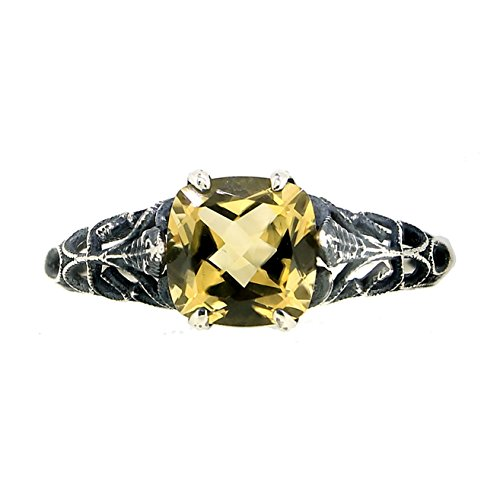 BL Jewelry Antique Finished Sterling Silver Cushion Cut Genuine Citrine Filigree Ring 1 1 2 CT.T.W