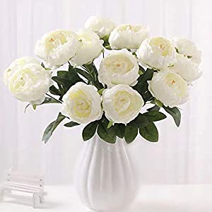 SHINE-CO LIGHTING Artificial Peony Silk Flowers Bouquet Glorious Moral for Home Office Parties and Wedding 82