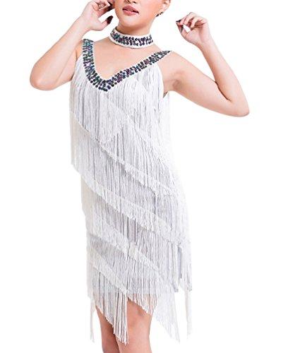 Latino mangas Borla Lentejuelas Blanco Vestidos Baile Salsa Flamenco Sin Mujer Elegante 0qBwxBz