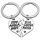 Art Attack Zombie Apocalypse Keychain, Walking Dead Broken Heart BFF Best Friends Partners In Crime Pendant Bag Charm Key Ring