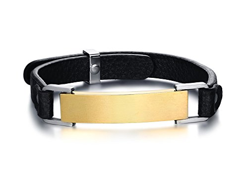 PJ Personalized Stainless Steel Custom Plain Gold Tag Adjustable Leather Bangle Bracelets for (Double Heart Tag Bracelet)