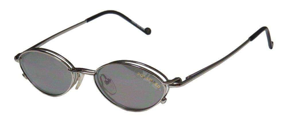 Smart Clip 800 Mens/Womens Rx-able Designer Full-rim Spring Hinges Sunglass Lens Clip-Ons Eyeglasses/Eyeglass Frame (47-17-140, Shiny Graphite) by SmartClip