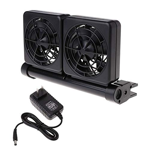 (Unicoco Fish Tank Cooling Fan US Version 2 Speed Adjustable Cooling System with 2 Fan Mini Aquarium Wind Chiller )