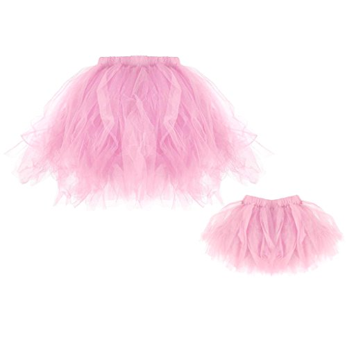 Mother And Daughter Fancy Dress Costumes (MonkeyJack Mother and Daughter Matching Princess Ballet Tutu Dress Mini Skirt Dress Set - Pink, Mom & Daughter)