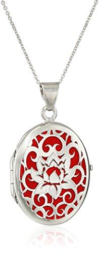 Italian Red Lotus flower Locket Necklace