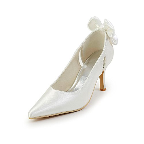 Minitoo GYAYL401 Womens Stiletto High Heel Satin Evening Party Shoes Bridal Wedding Bowknot Pumps White-8cm Heel Vha7Zsm2tW