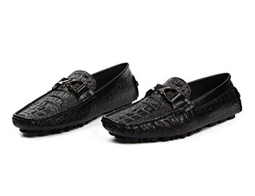 Hombre uk6 Tumbona Casuales Eu39 Hombres Cuero Clásicos Para Zapatos Transpirable Rojo De Vino Británico color Tamaño Piel Negro Conducción Los Estilo wqIx7HB7