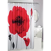 Moda at Home 204608 Poppy Explosion Water Repellent Fabric Shower Curtain, 71-Inch X 71-Inch, Red and White