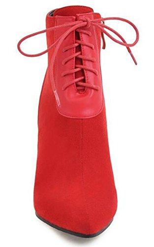 Side Zipper Martin Ankle Lace Sexy Boots IDIFU Pointed Red Up Toe Stiletto Heels Womens High Spliced 1xqRvUwz