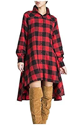 Aifer Womens Long Sleeve Plaids Irregular Hem Loose Casual Shirt Dress