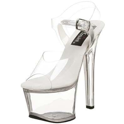 Pleaser Women's SKY308/C/M Dress Sandal, Clear White, 6 M