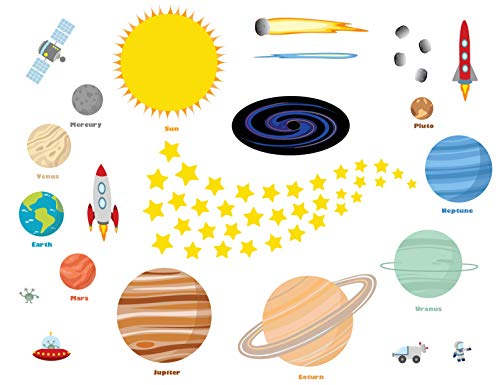 treepenguin Outer Space Wall Decals for Kids Rooms - Fun and Educational Solar System Planets and Stars Wall Stickers - Easy Peel and Stick Wall Decor