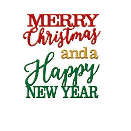 Happy New Year Art - Happy New Year Merry Christmas Letters Metal Cut Cutting Dies Mold Tool Stencil for Handmade DIY Craft Scrapbooking Scrapbook Decorative Embossing