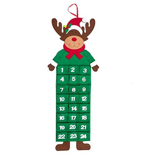 Robelli Large Rudolf Reindeer Festive Felt Christmas Advent Calendar with Pockets