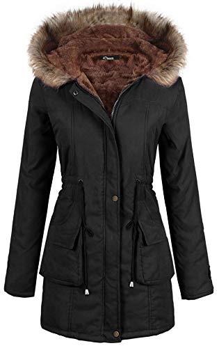 ccb6c3ab1e538 iClosam Women Parka Winter Long Coat Faux Fur Lined Anroak Jacket with Hood