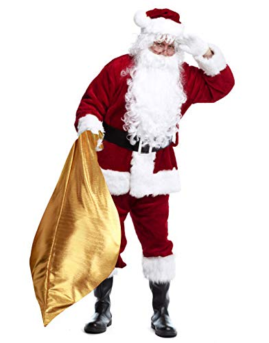 Christmas Santa Claus Costume Men's Deluxe Velvet Santa Suit for Adult Cosplay Outfit Wine Red