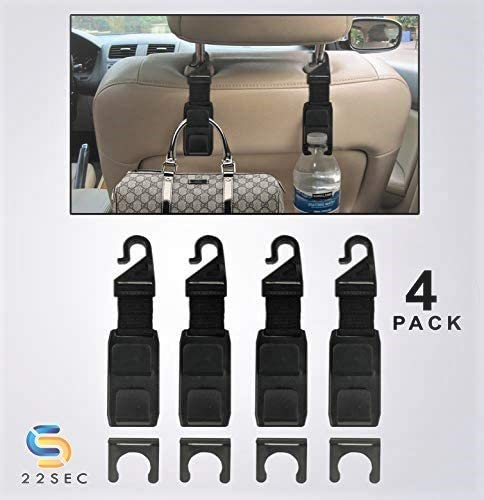 Dry Cleaning Hanger Holds up to 13 lbs Grocery Bag Organizer Car Headrest Hook Purse Holders Perfect for Vehicle Storage 4 PACK Bottle Holder -Headrest Hooks for Cars