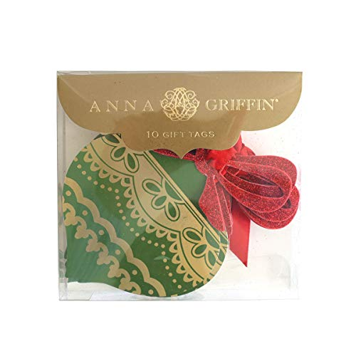 Anna Griffin Christmas Gift Tags 10 Christmas Tags Gold and Green Red Christmas Ribbon Christmas Bow Embellishments -Ornament Shape 4.5