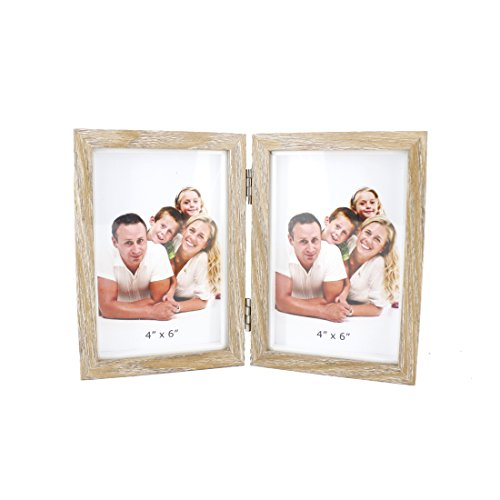 Classic Wooden Hinged Foldable Double Openings Desktop Picture Frame,Holds 4x6 Pictures,with Glass Front (Darker Wood - Foldable Picture Frame
