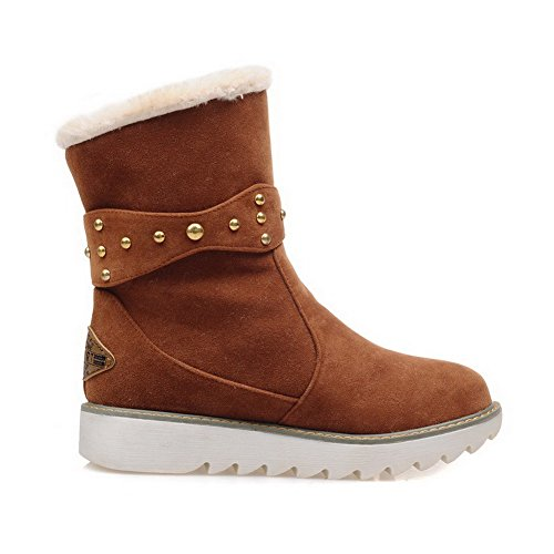 Round Women's Pull Frosted Low Heels Snow Brown Closed Low top WeiPoot Boots on Toe 8dqnt