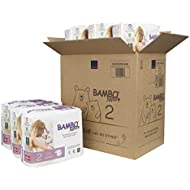 Bambo Nature Eco Friendly Premium Baby Diapers for Sensitive Skin, Size 2 (7-13 lbs), 180 Count (6 Packs of 30)