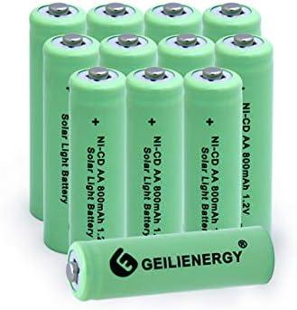 GEILIENERGY Solar Light AA Ni-CD 800mAh Rechargeable Batteries,AA Rechargeable Batteries for Solar Lights Solar Lamp(Pack of 12)