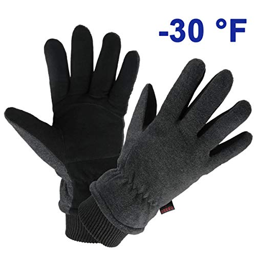 OZERO Winter Gloves Deerskin Leather Thermal Bike Glove Warm Fleece for Snow Skiing Driving Cycling Hiking Runing Hand Warmer in Cold Weather for Women and Men Medium Gray