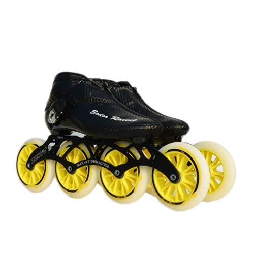 拡散する手伝うカバーNUBAOgy インラインスケート、90-110ミリメートル直径の高弾性PUホイール、3色で利用可能な子供のための調整可能なインラインスケート (色 : 黒, サイズ さいず : 46)
